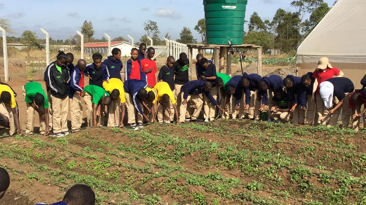 Students at the Academy's Farm